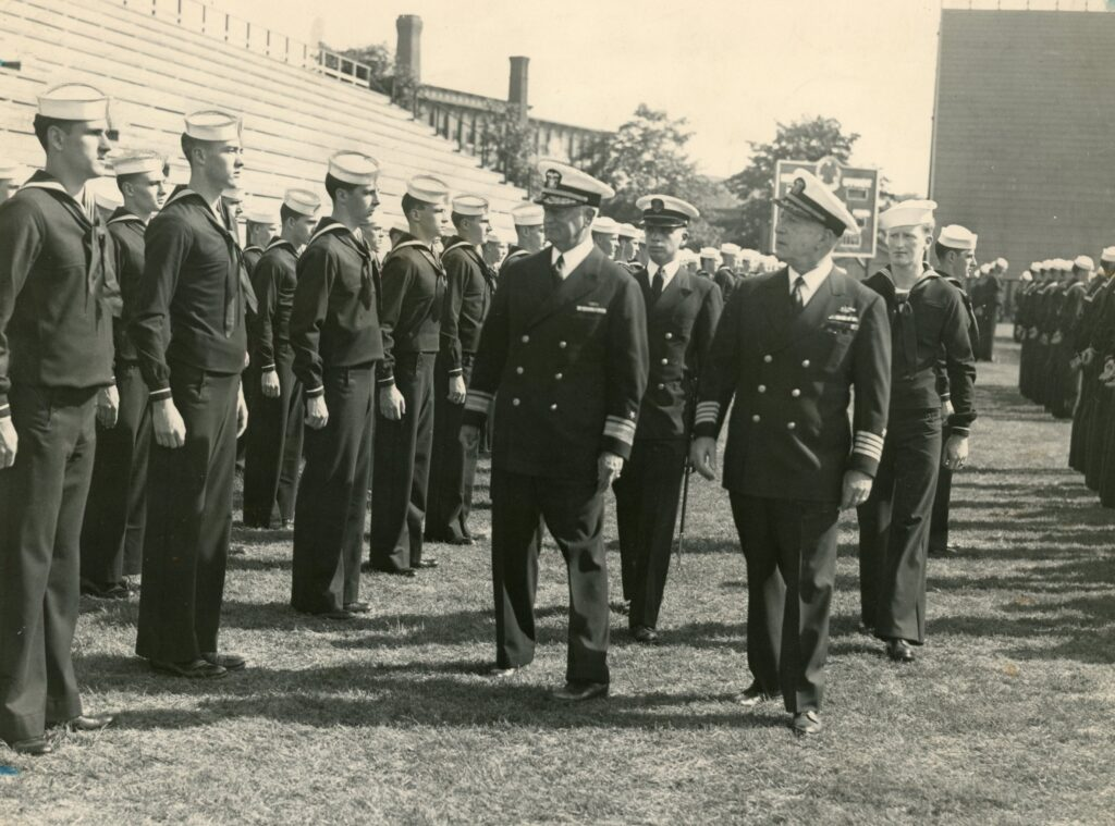 NROTC students line up for inspection on Fitton Field